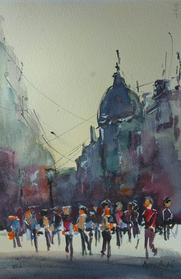 Bucharest old town watercolor