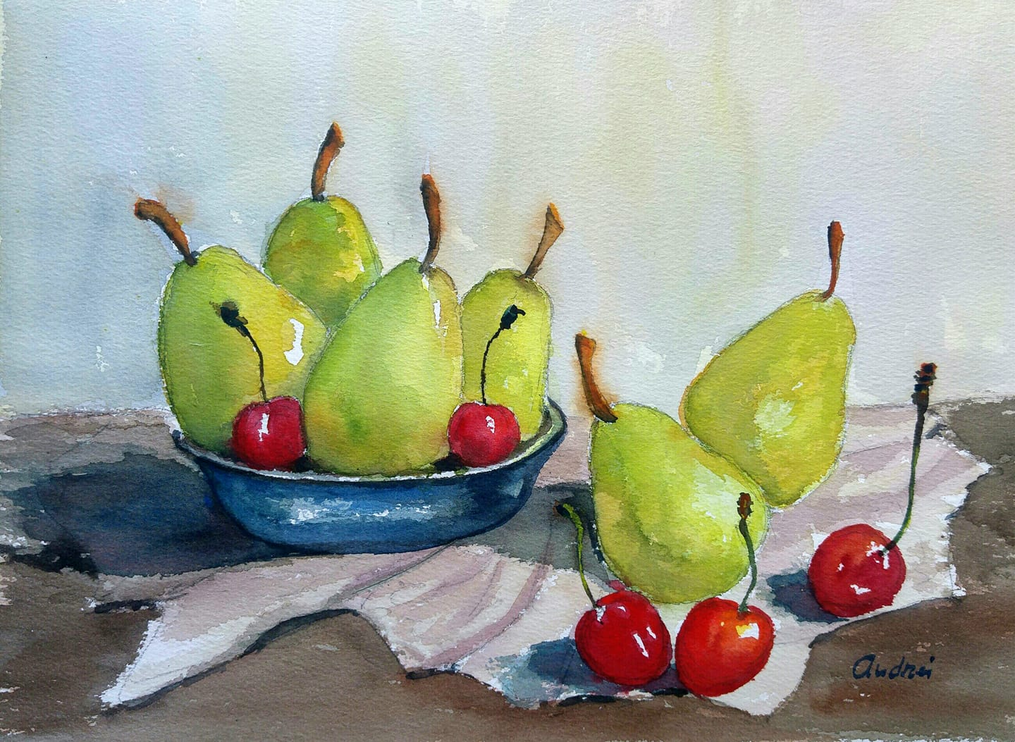 still life with fruits watercolor