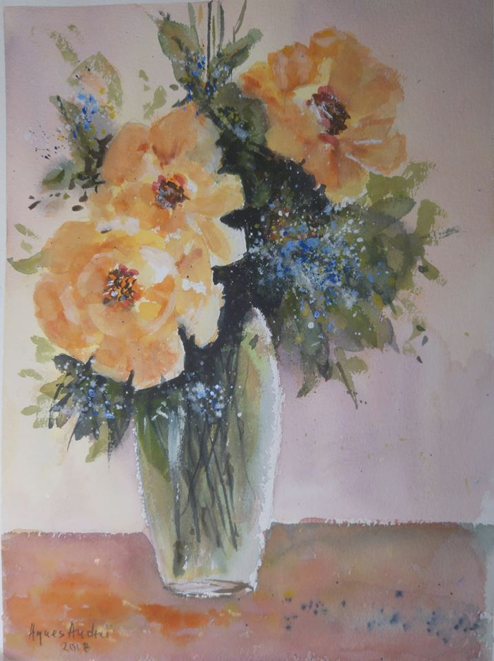 yellow roses watercolor